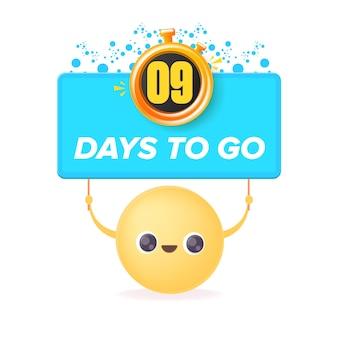 9 dni, aby przejść szablon projektu banera z uśmiechniętą buźką trzymającą odliczanie
