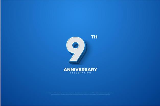 9 Rocznica Z Uzyskanymi Liczbami Trójwymiarowymi. Premium Wektorów