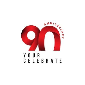 90 lat rocznica szablon wektor ilustracja