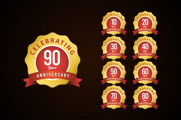 90 lat rocznica zestaw uroczystości złoty żółty elegancki szablon projektu ilustracja
