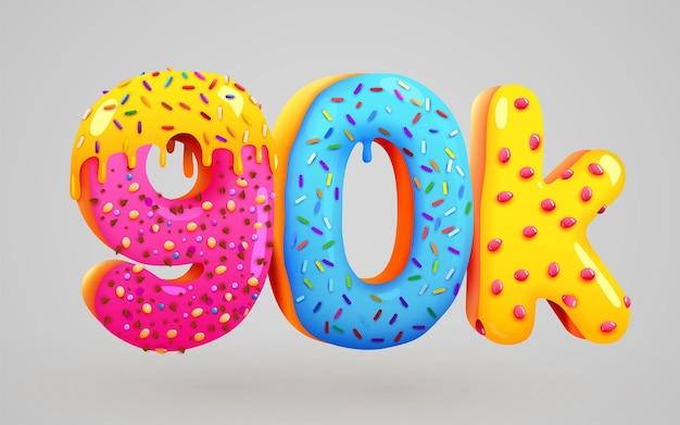 90 tys. obserwujących pączek deser znak znajomych w mediach społecznościowych obserwujący dziękuję subskrybentom