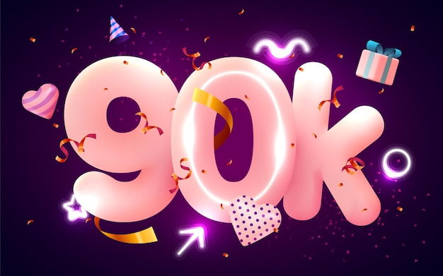 90k lub 90000 obserwujących dziękuje różowe serce, złote konfetti i neony.
