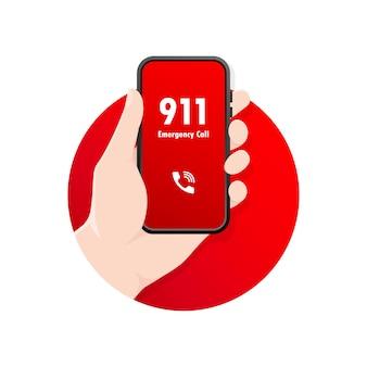 911 dzwoni w płaskiej ilustracji
