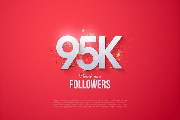95 tys. obserwujących z nakładającymi się liczbami na czerwonym tle