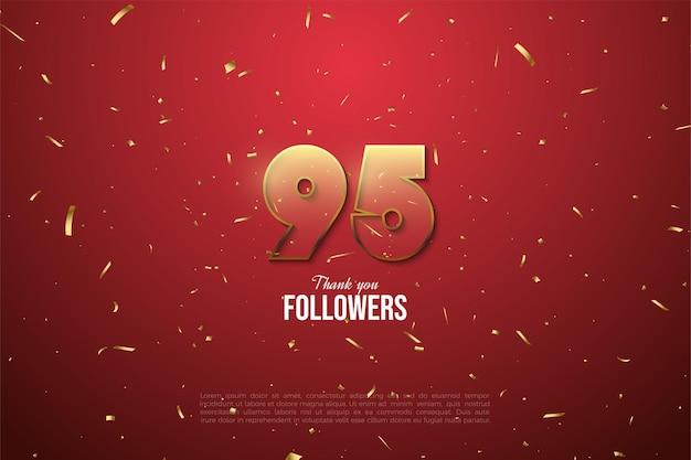 95 tys. obserwujących z przezroczystością złotych cyfr i plamek