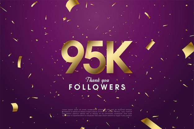 95 tysięcy zwolenników z numerami i złotym papierem na fioletowym tle