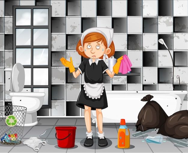 A tired maid cleaning bathroom