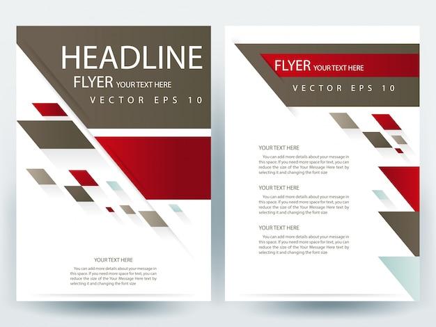 A4 broszura szablonu z czerwonym i brązowym geometrycznym