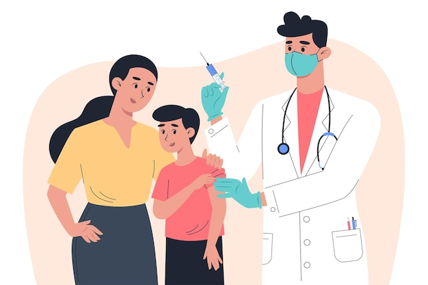 Aa-mężczyzna lekarz w masce i rękawiczkach robi szczepionkę dziecku-pacjentowi