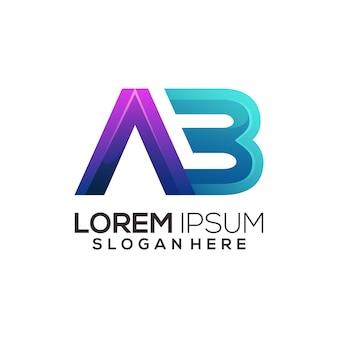 Ab inicjały litery kolorowe gradientowe logo streszczenie ilustracja