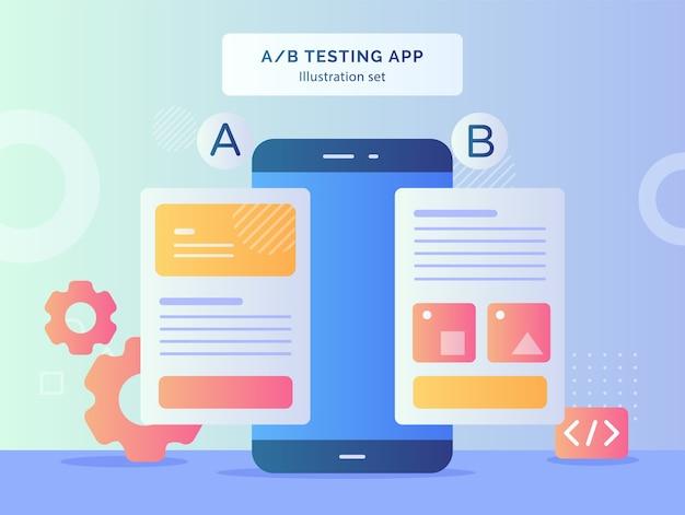Ab testująca zestaw ilustracji aplikacji, porównując dwa szkieletowe strony witryny internetowej na smartfonie z płaską konstrukcją