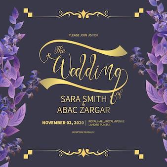 Abastract ręcznie rysowane karta zaproszenie na ślub kwiatowy