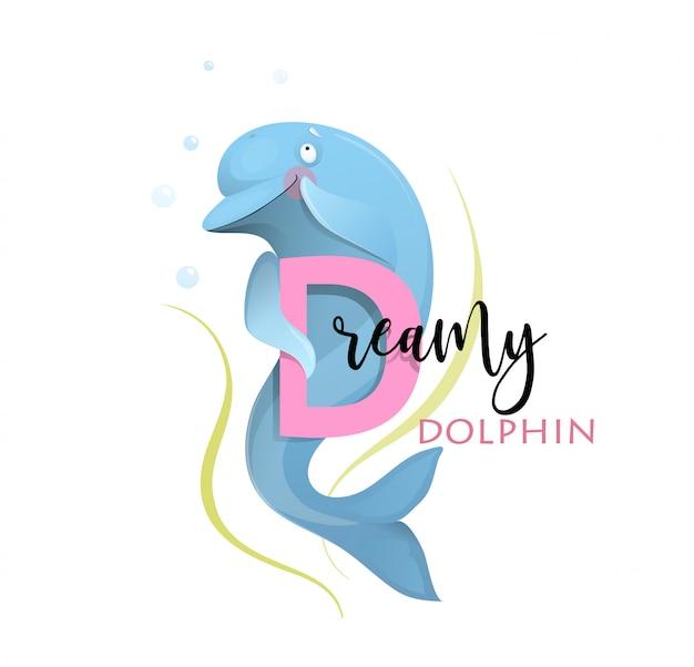Abc alphabet for kids dreamy dolphin na literę d.