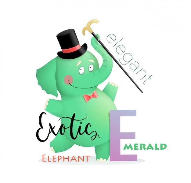 Abc alphabet for kids elephant na literę e.