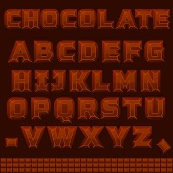 Abc czekoladowy alfabet w wektorze