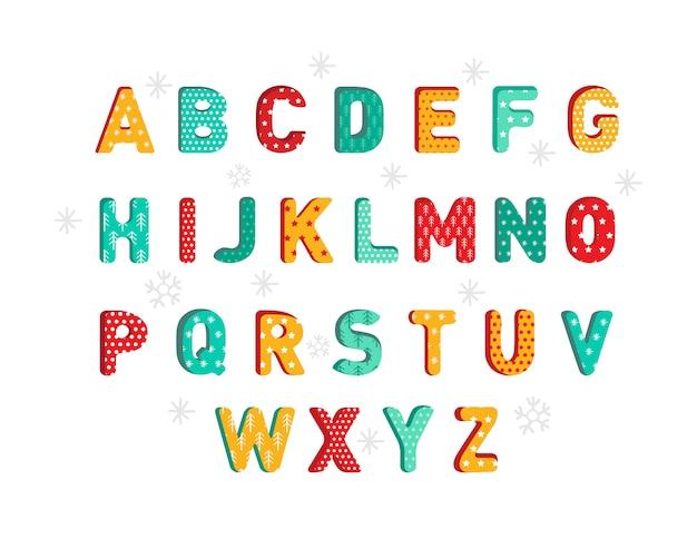 Abc. kolorowy nowy rok lub bożenarodzeniowy abecadło odizolowywający na białym tle. litery 3d w świątecznym stylu dla dzieci. kreatywna żółta, zielona i czerwona komiksowa czcionka o wysokiej szczegółowości. ilustracja kreskówka