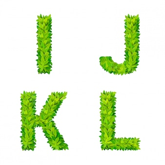 Abc trawa liście list numer elementy nowoczesna przyroda afisz napis liściasty dolistny zestaw liściasty. ijkl leaf leafed foliowane naturalne litery alfabetu łacińskiego alfabetu angielskiego.
