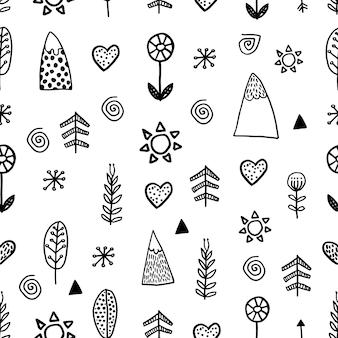 Absctract nordic trdy wzór w nowoczesnym stylu skandynawskim w stylu doodle wektor