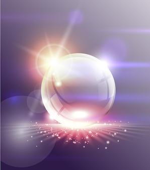 Absctract tło. przezroczysta szklana kula z jasnymi światłami