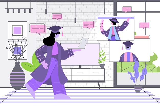 Absolwenci dyskutujący podczas rozmowy wideo absolwenci świętujący dyplom akademicki stopień nauka edukacja komunikacja online koncepcja salon wnętrze poziome