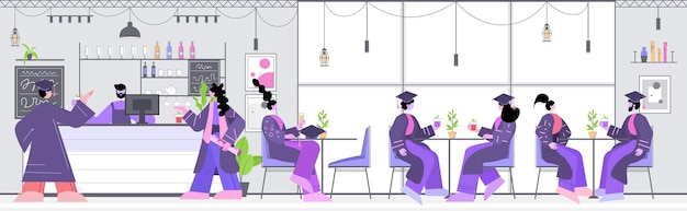 Absolwenci dyskutujący podczas spotkania w kawiarni absolwenci świętujący akademicki dyplom dyplom wykształcenie koncepcja komunikacji online koncepcja restauracji wnętrze pozioma pełna długość