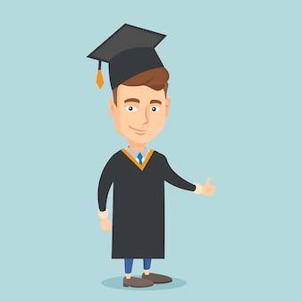 Absolwent daje kciukowi w górę ilustraci.