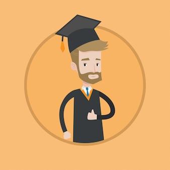 Absolwent daje kciukowi w górę wektorowej ilustraci.