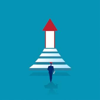 Absolwent jednego mężczyzny wchodzi po schodach do oświetlających drzwi sukcesu