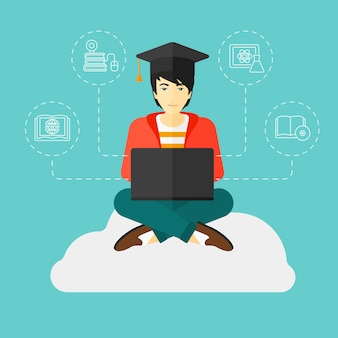 Absolwent siedzi na chmurze