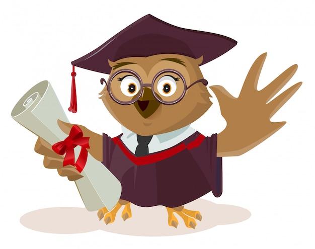Absolwent sowy z dyplomem ukończenia
