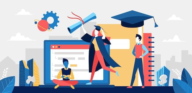 Absolwent szkoły, ilustracja koncepcja edukacji online.