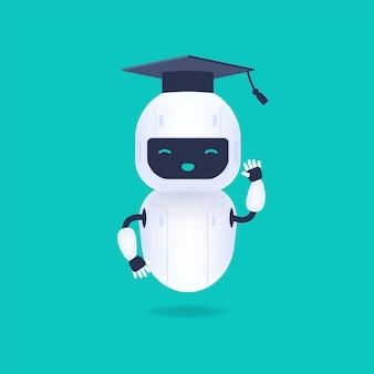 Absolwent, uroczy i uśmiechnięty robot ai w czapce ukończenia szkoły.