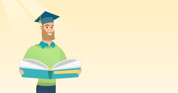 Absolwent z książką w ręki wektoru ilustraci.