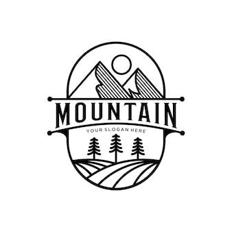 Abstrack górska linia sztuka logo vintage design premium szablon