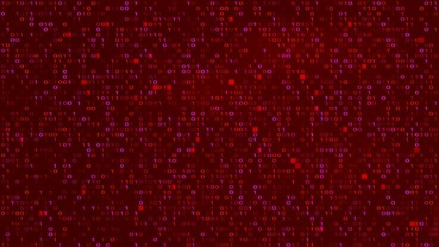 Abstract tech binary code red bg. hakowanie, złośliwe oprogramowanie