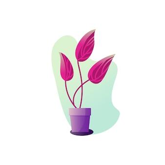 Abstrakcja roślina doniczkowa. ilustracja wektorowa liści rośliny doniczkowej. ogrodnictwo ilustracja w stylu nowoczesnej, prostej sztuki płaskiej. kwiat na białym tle