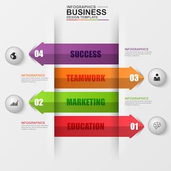 Abstrakcjonistyczna 3d cyfrowa biznesowa strzała infographic