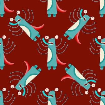 Abstrakcjonistyczna bezszwowa deseniowa śliczna potwór kreskówka. dzieci graficzna ilustracja. tapeta, papier pakowy