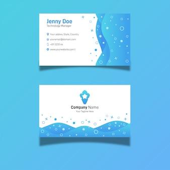 Abstrakcjonistyczna błękitna kreatywnie nowożytna gradientowa prosta ciekła wizytówka