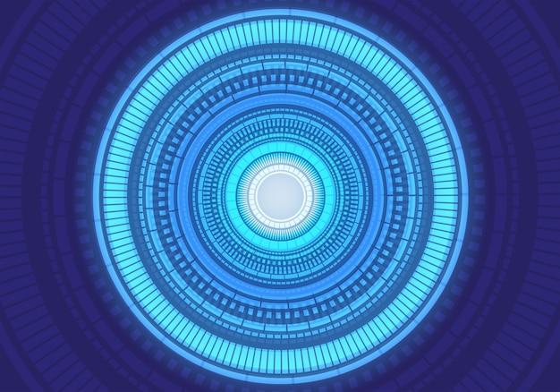 Abstrakcjonistyczna błękitna lekka okrąg energii energetyczna technologia futurystyczna.