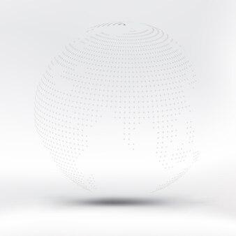 Abstrakcjonistyczna czarna kropkowana sfera na białej tkaninie