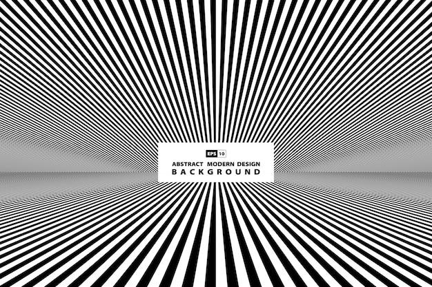 Abstrakcjonistyczna czarny i biały linia perspektywiczny tło.