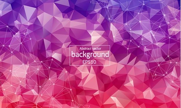 Abstrakcjonistyczna czerwona purpurowa geometryczna poligonalna tło molekuła i komunikacja.