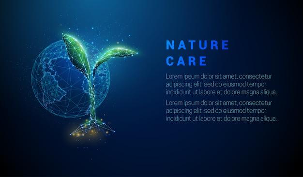 Abstrakcjonistyczna dorośnięcie roślina w ziemi z planety ziemią.