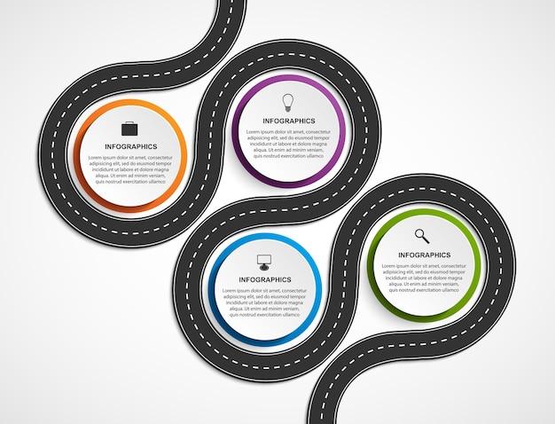 Abstrakcjonistyczna droga i uliczny biznesowy infographic projekta pojęcie