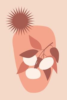 Abstrakcjonistyczna gałąź i słońce minimalistyczna ilustracja w stylu boho