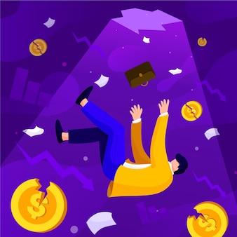 Abstrakcjonistyczna ilustracja światowy kryzys finansowy