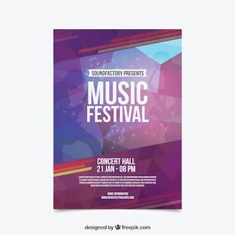 Abstrakcjonistyczna kolorowa festiwal muzyki ulotka