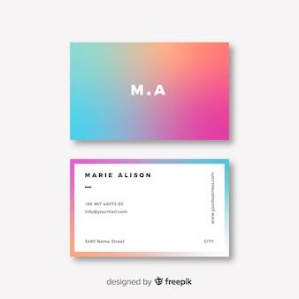 Abstrakcjonistyczna kolorowa gradientowa wizytówka