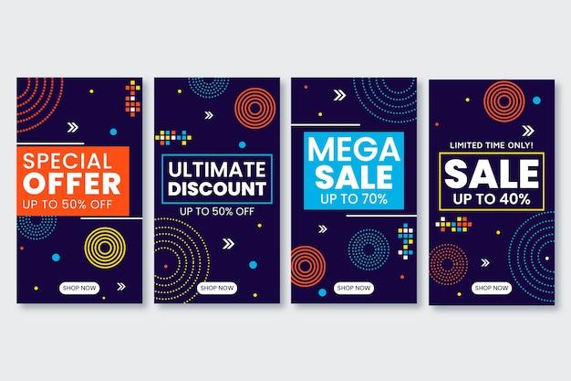 Abstrakcjonistyczna kolorowa instagram sprzedaży opowieści kolekcja